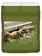 Yellow Labs In Training Duvet Cover