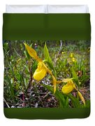 Yellow Lady Slippers Along Emerald Lake Trail In Yoho Np-bc Duvet Cover