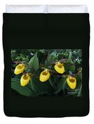 Yellow Lady Slippers On Forest Floor Duvet Cover