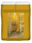 Yellow Leaf Road Duvet Cover