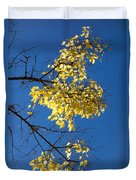 Yellow Leaves In Fall And Deep Blue Sky Duvet Cover