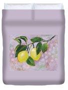 Yellow Lemons On Purple Orchid Duvet Cover by Jen Norton