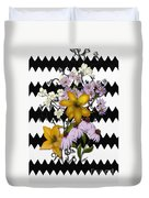 Yellow Lilies On Black And White Zigzag Duvet Cover