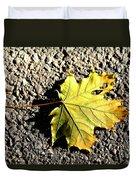 Yellow Maple Leaf On Asphalt Duvet Cover