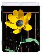 Yellow Metal Garden Flower Duvet Cover