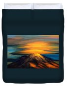 Yellow Mountaintop Hugged By Yellow Cloud  Duvet Cover