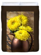 Yellow Mums In Copper Vase Duvet Cover