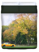 Yellow Nyc Taxi Driving Through Central Park Usa Duvet Cover