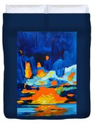 Yellow Orange Blue Sunset Landscape Duvet Cover by Patricia Awapara