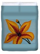 Yellow Oriental Lily Duvet Cover