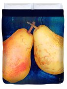 Yellow Pears On Blue Number Two Duvet Cover