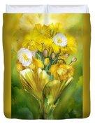 Yellow Poppies In Poppy Vase Duvet Cover