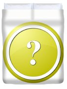 Yellow Question Mark Round Button Duvet Cover