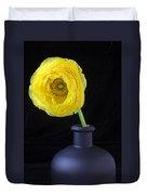 Yellow Ranunculus In Black Vase Duvet Cover