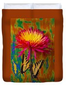 Yellow Red Mum With Yellow Black Butterfly Duvet Cover