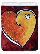 Yellow Red Orange Heart Love Painting Pop Art Love By Megan Duncanson Duvet Cover by Megan Duncanson