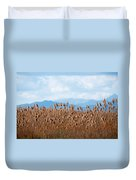 Yellow Reeds And Blue Mountains Duvet Cover