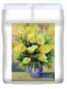 Yellow Roses Duvet Cover by Kathy Braud