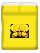 Yellow Roses Mirrored Effect Duvet Cover