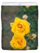 Yellow Roses On A Bush Duvet Cover