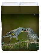 Yellow-rumped Warbler Feeding Young Duvet Cover