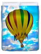 Yellow Striped Hot Air Balloon Duvet Cover