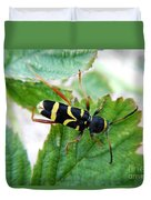 Yellow Stripped Beetle Duvet Cover