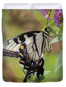 Yellow Swallowtail Butterfly Taking A Drink Duvet Cover