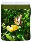 Yellow Swallowtail On Yellow Lantana Duvet Cover