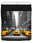 Yellow Taxis In New York City - Usa Duvet Cover