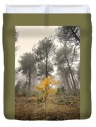 Yellow Tree In The Foggy Forest Duvet Cover