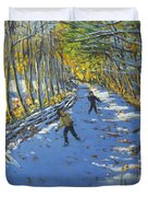 Yellow Trees  Allestree Park Duvet Cover by Andrew Macara
