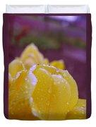 Yellow Tulip Dappled With Rain Duvet Cover