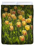 Yellow Tulip Flowers On Windmill Island In Holland Michigan Duvet Cover