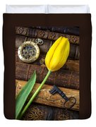 Yellow Tulip On Old Books Duvet Cover