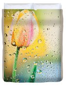 Yellow Tulip Reflecting In Water Drops Duvet Cover