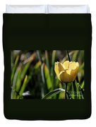 Yellow Tulip With Dew Duvet Cover