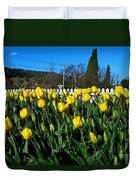 Yellow Tulips Before White Picket Fence Duvet Cover