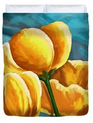 Yellow Tulips On Blue Duvet Cover
