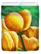 Yellow Tulips On Green Duvet Cover