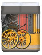 Yellow Wheeled Carriage In Seville Duvet Cover