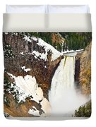 Yellowstone Falls From Lookout Point. Duvet Cover