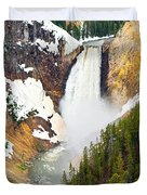 Yellowstone Falls In Spring Time Duvet Cover