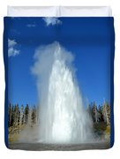 Yellowstone Grand Geyser Shooting Up High Duvet Cover