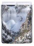 Yellowstone -  Lower Falls In Winter Duvet Cover