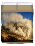 Yellowstone Riverside Eruption Duvet Cover
