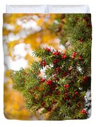 Taxus Baccata Or Yew Red Fruits On Twig  Duvet Cover