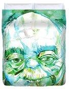Yoda Watercolor Portrait Duvet Cover