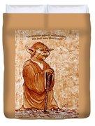 Yoda Wisdom Original Coffee Painting Duvet Cover