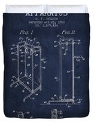 Yoga Exercising Apparatus Patent From 1968 - Navy Blue Duvet Cover